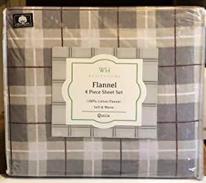 Wexley Home Queen Size Cotton Plaid Flannel Sheet Set - 100% Cotton (Gray Cream Maroon Taupe)