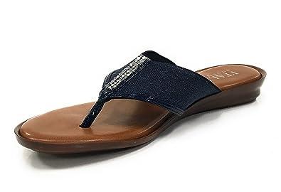 ab90bcecfaa4 ITALIAN Shoemakers 5499S7 Rhinestone Thong Flat Sandals (6