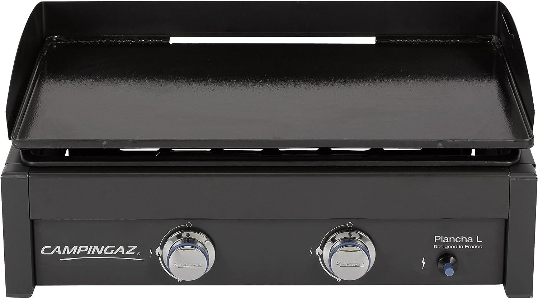 Campingaz Plancha L - Plancha de gas con dos quemadores de acero aluminizado, 7.5 kW de potencia, amplia plancha portátil de acero antiadherente, placa de cocina Teppanyaki