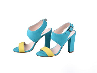 2ffd24c13badb ANNA MILAN Women s Flamingo Sandals Goatling Leather in Turquoise Leather  Sole Exclusive Collection Manufactered in Spain