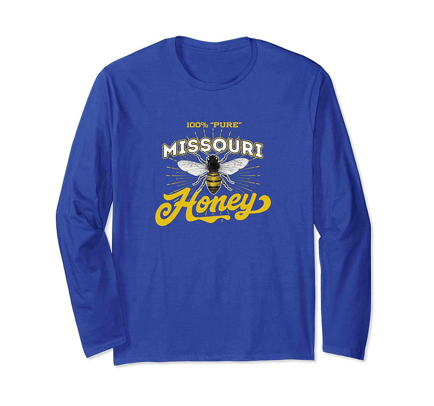 100% Pure Missouri Honey Retro Label Long Sleeve Shirt-fa