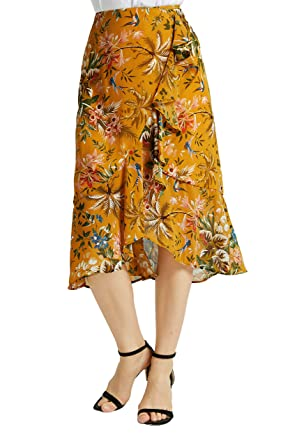 49d5f25cf30f Tronjori Womens A Line Floral Print Midi Skirt with Ruffle on The Front(S,