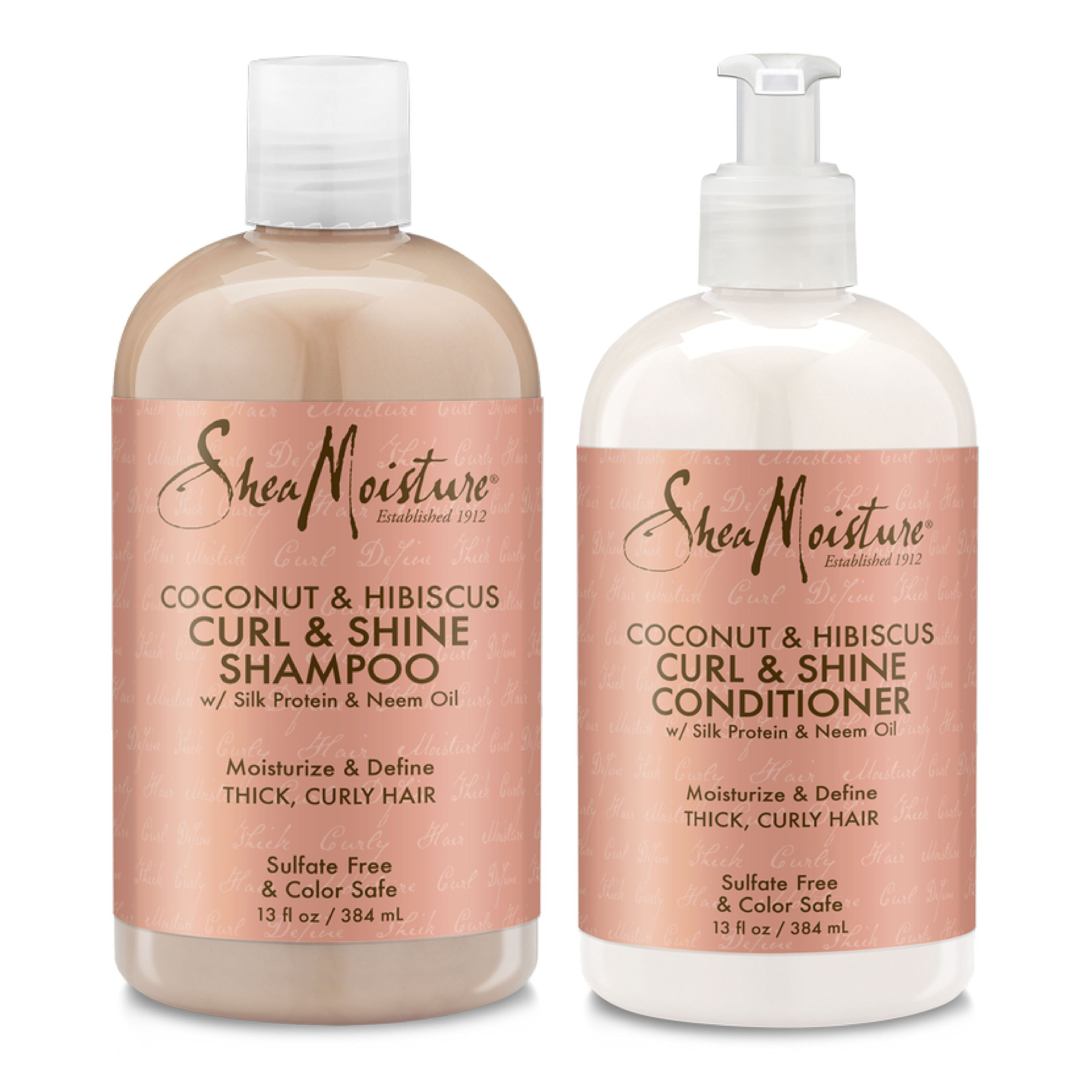 Shea Moisture Coconut & Hibiscus Curl & Shine, Shampoo and Conditioner Set, Silk Protein and Neem Oil, 13 Oz Each