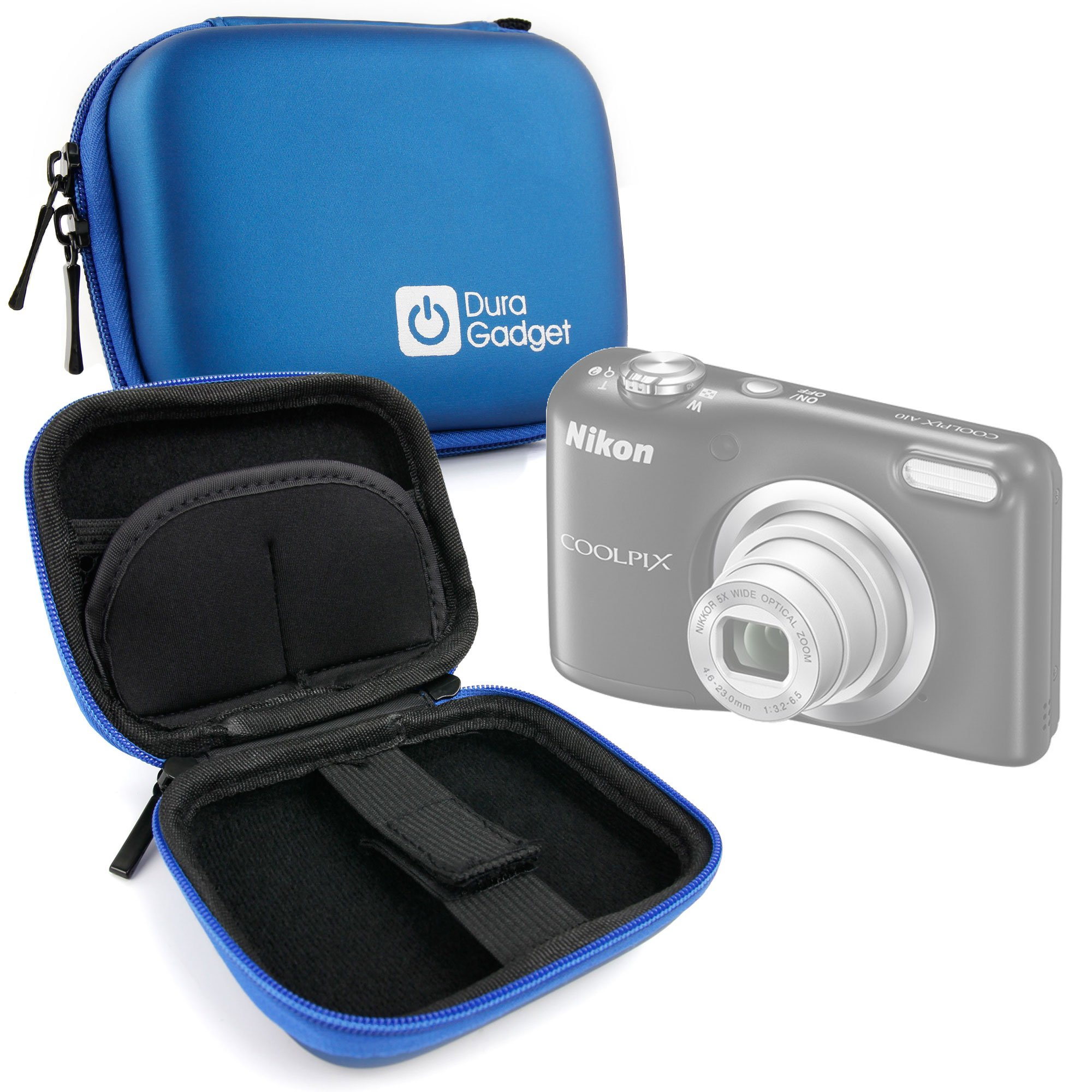 DURAGADGET Premium Quality Blue Hard EVA Shell Case with Carabiner Clip & Twin Zips - Compatible with The Nikon Coolpix A10 | A100 | W100 Compact Camera by DURAGADGET