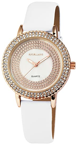 Reloj Mujer Oro Blanco Brillantes Nácar Analog Piel Reloj de Pulsera