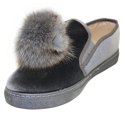 3b952ec812a Henry Ferrera Women s Slip-On Pom Pom Fashion Sneaker