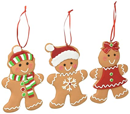 Set of 3 Gingerbread Cookie Christmas Tree Ornaments Adorable Holiday Decor - Amazon.com: Set Of 3 Gingerbread Cookie Christmas Tree Ornaments