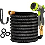 "Expandable Garden Hose - 50ft Water Hose with 3/4"" Solid Brass Fittings - ALL NEW Water Hose with Double Latex Core"