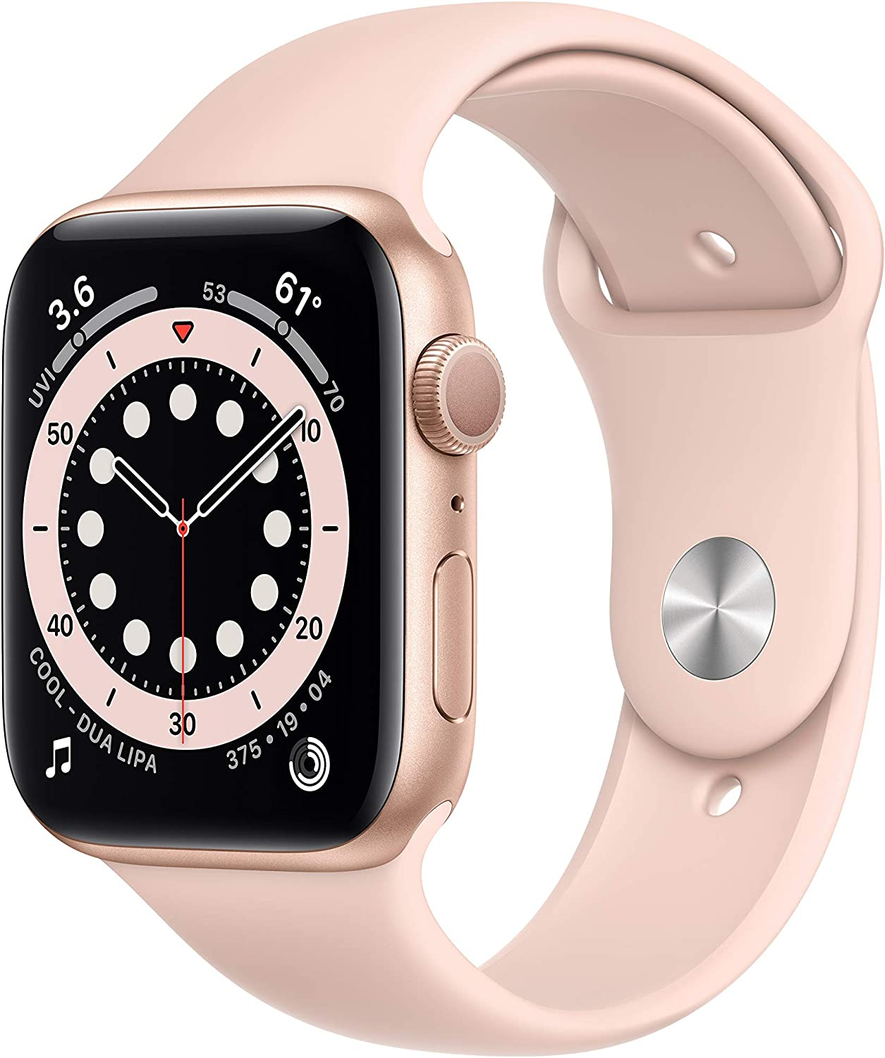 New Apple Watch Series 6 (GPS, 44mm) - Gold Aluminum Case with Pink Sand Sport Band
