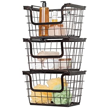 Multi Purpose Giftburg Wrought Iron Wire Baskets, Set Of 3,Perfect For  Storing