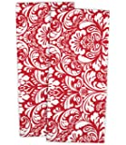 "DII Cotton Damask Kitchen Dish Towels, 28 x 18"" Set of 2, Low Lint Decorative Tea Towel for Everyday Cooking and Baking-Tango Red"