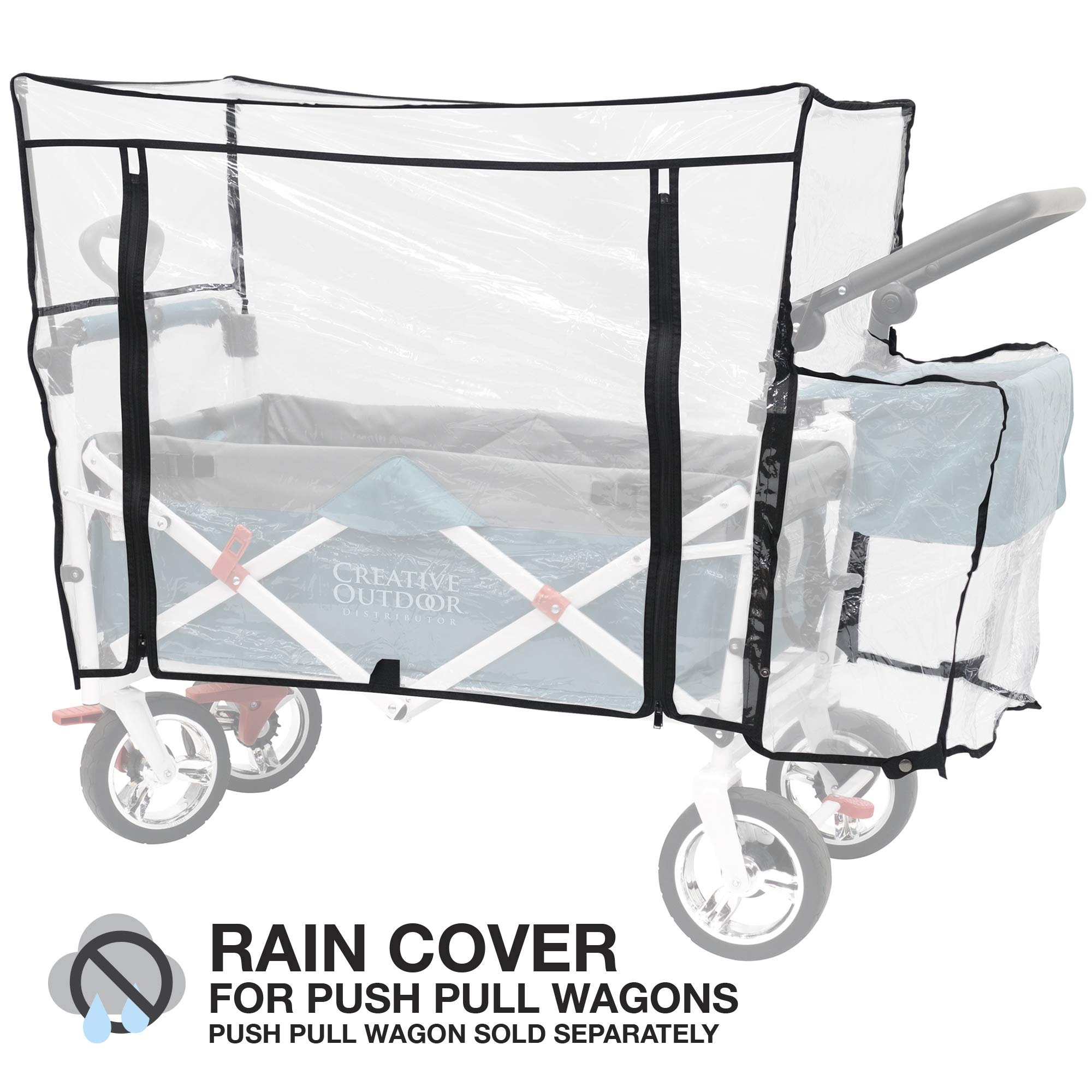 Creative Outdoor Distributor 999592 Push Pull Folding Wagon Rain Cover, Clear by Creative Outdoor Distributor