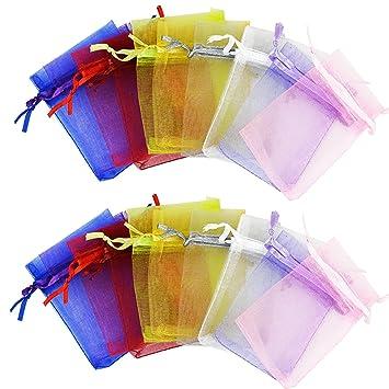 f73086e2a 50pcs Multi Colored bolsas de Organza 12 x 9 cm cordón bolsas de regalo,  ishua boda Favor bolsas de regalo joyería bolsas de accesorios: Amazon.es:  Hogar