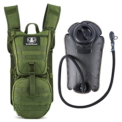 Barbarians Tactical Hydration Pack Water Backpack with 3L Bladder, Lightweight Military Molle Backpack Green