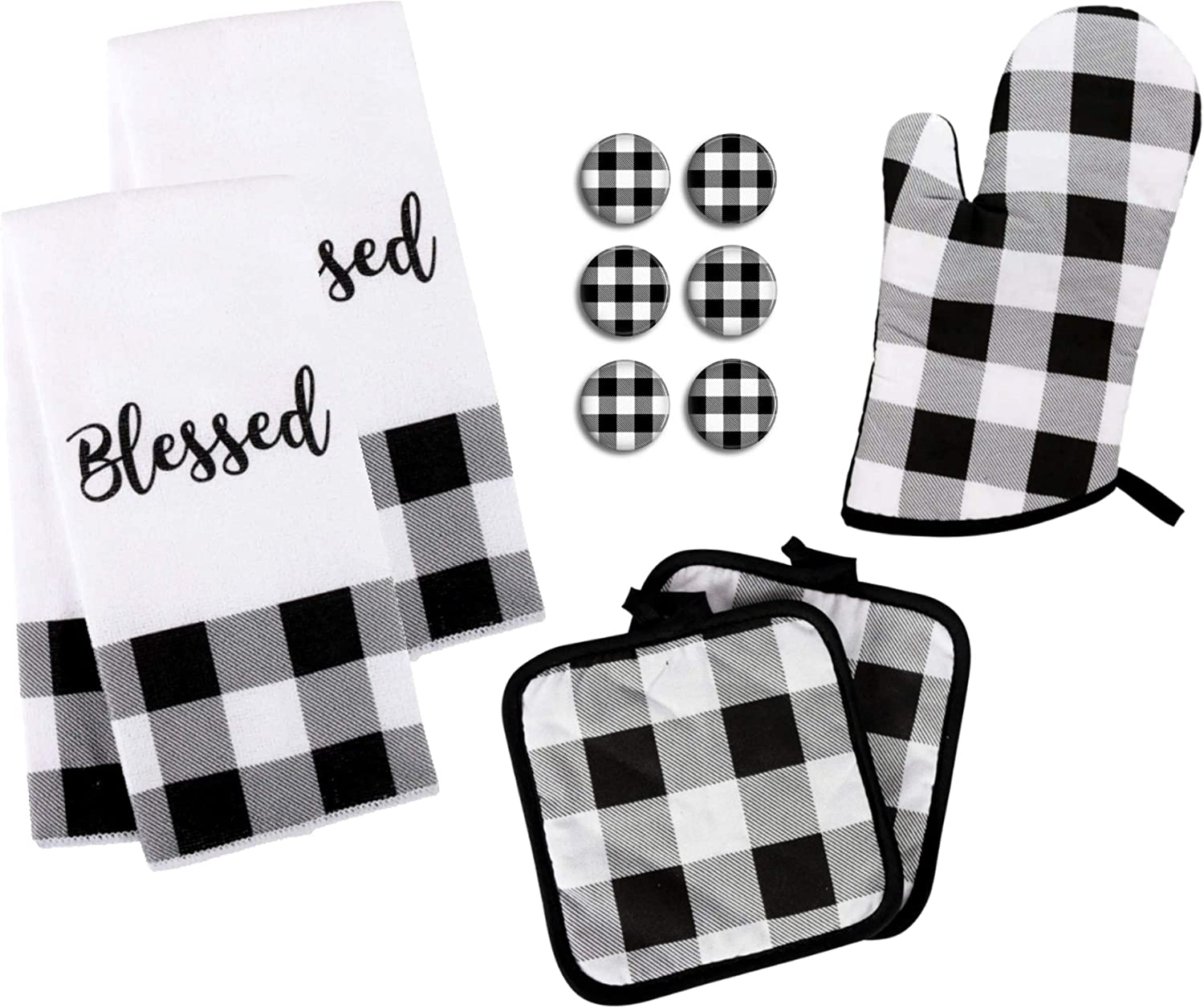 Amazon Com Buffalo Check Kitchen Towel Set With Pot Holders Oven Mitt And Of 6 Refrigerator Magnets Black White Plaid Modern Farmhouse Decor Gift Towels Potholder