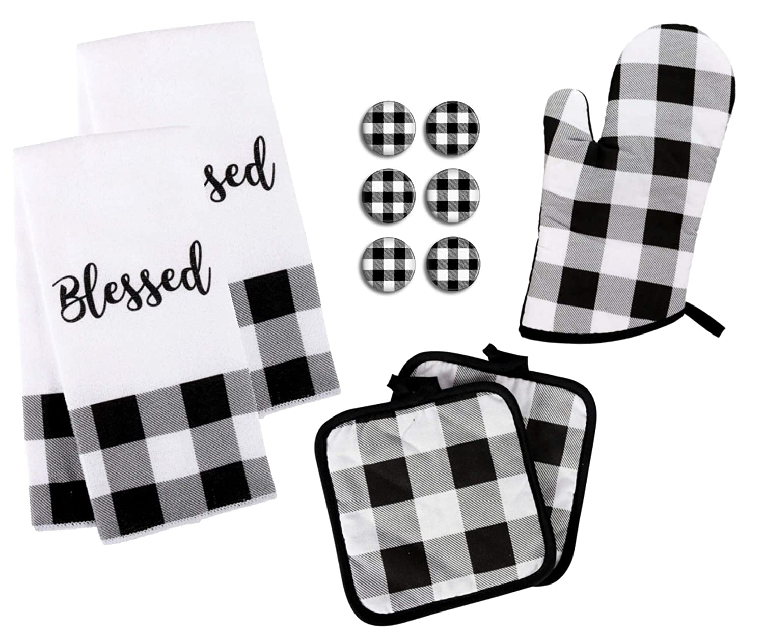 Buffalo Check Kitchen Towel Set with Pot Holders Oven Mitt and Set of 6 Refrigerator Magnets - Black and White Plaid - Modern Farmhouse Decor Gift Set (Towels & Potholder Set)