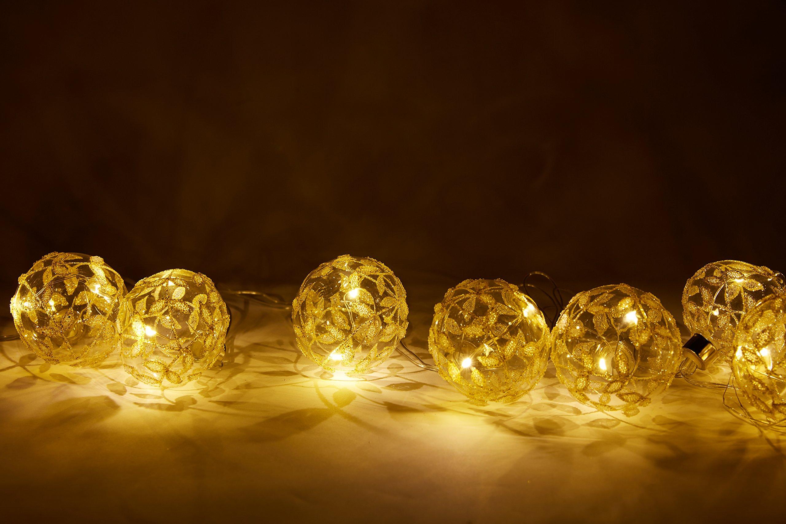 8.1Ft String Lights 10 Extra Large Glass Balls 10 LEDs, Window Decoration Summer Party Decor