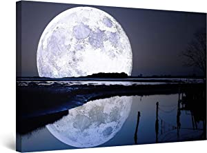Startonight Canvas Wall Art - Full Moon Water Reflection, Sky Framed 32 x 48 Inches