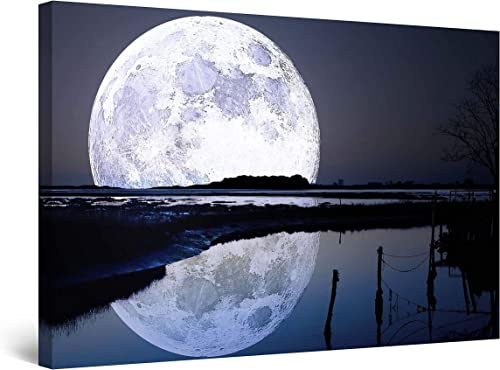 Startonight Wall Art Canvas Full Moon Water Reflection
