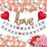 ガーランド 結婚式 バルーン 花びら 飾り付け ウェディング ガーランド HAPPY WEDDING &JUST MARRIED 2組 フォトプロップス 結婚式 装飾 ハッピーウェディング 飾り JM002