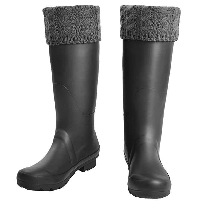 84c9d9c2daf Grey Knit Welly Socks for Adult Hunter Boots Tall Rain Boots Liners-M