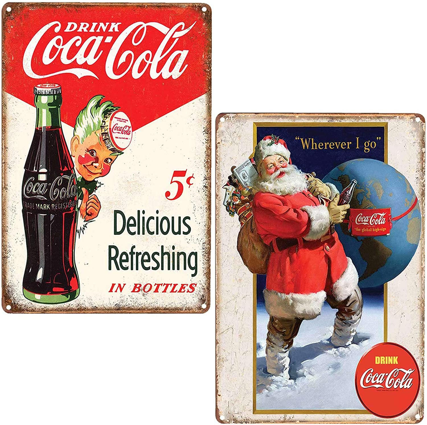 FSTIKO Vintage Coca Cola Tin Signs, Drink Coca Cola 5 Cents Delicious Refreshing in Bottles & Santa Claus Drink Coke Retro Decor for Men Cave Home Wall Plaque Poster Cafe Bar Pub 8X12Inch 2Pcs