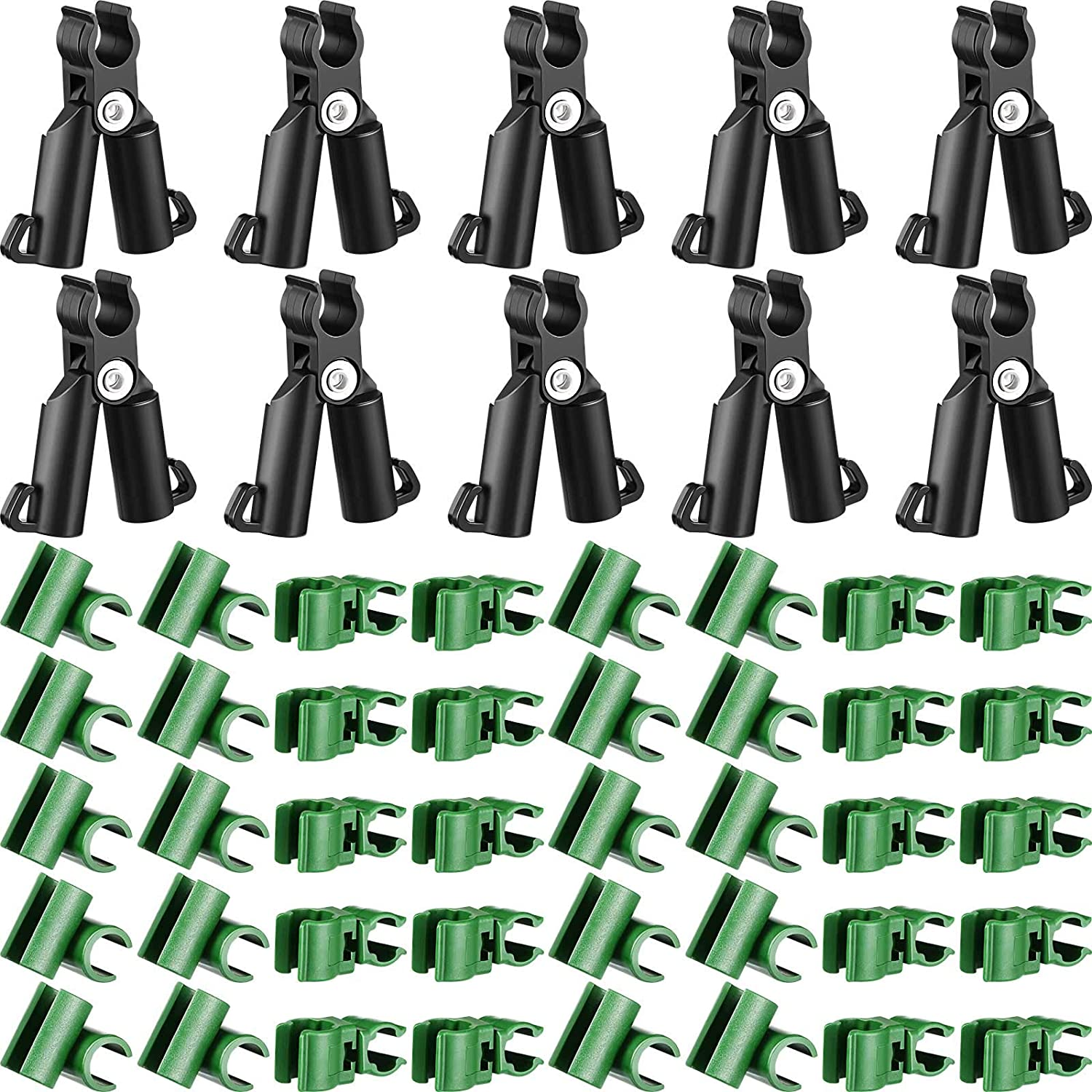 50 Adjustable Plant Trellis Connector Clip Plastic Plant Connector Stakes Garden Plastic Connector A-Type Connecting Joint Buckle Clip for Gardening Stakes Metal Steel Plant Supports Climbing (11 mm)