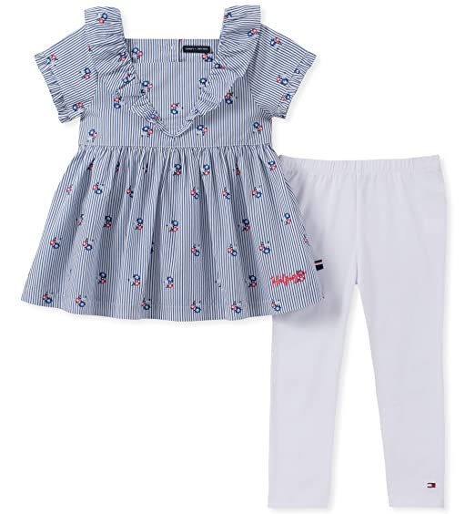 Tommy Hilfiger Girls' Toddler 2 Pieces Legging Set, Chambray Blue/Navy 2T
