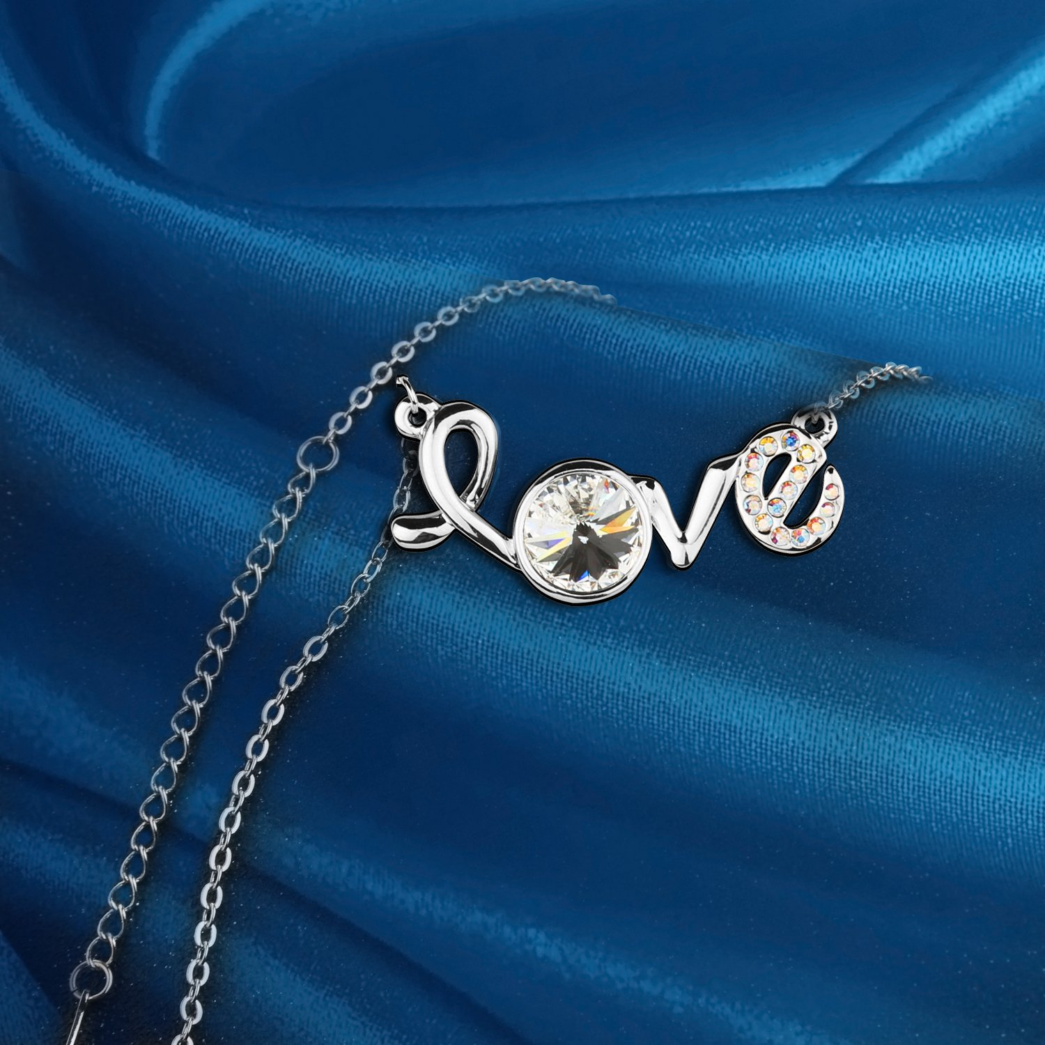 """Pealrich """"LOVE"""" Lettering Fashion Jewelry Pendant Necklace Made with Swarovski Crystal,Women/Girlfriend Love Gifts (White)"""