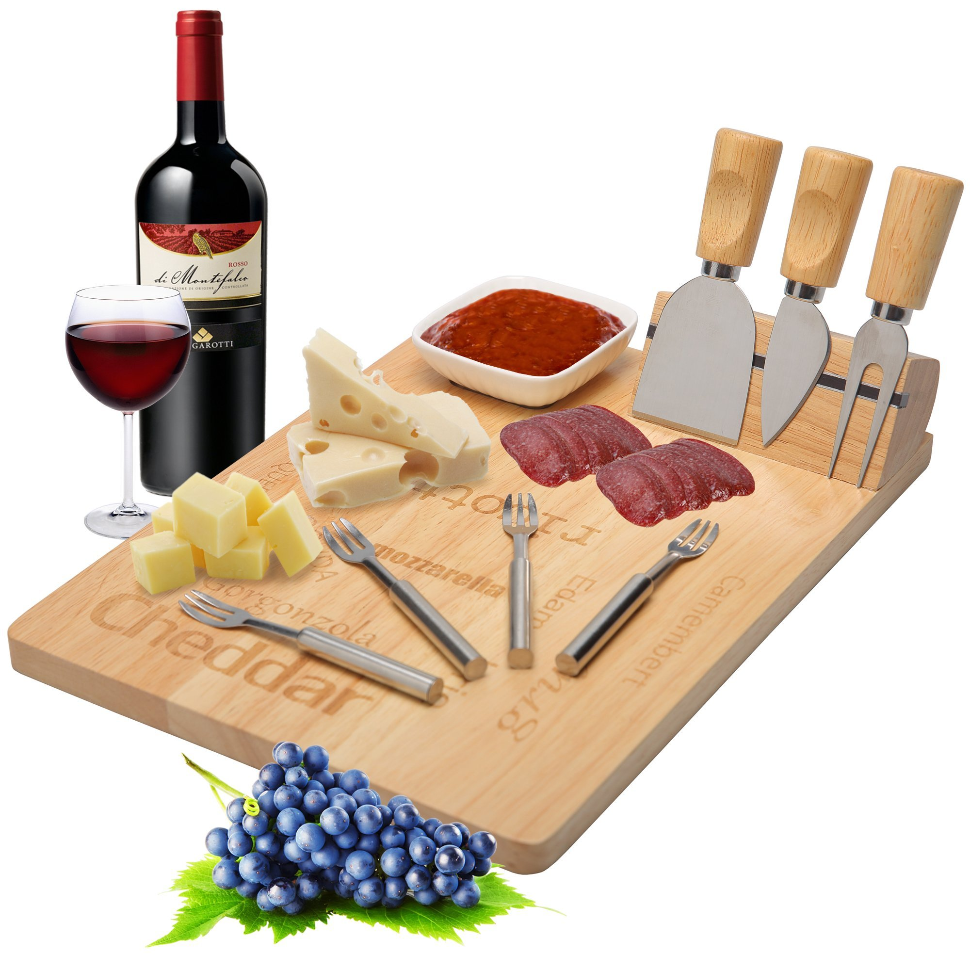 Cheese Board Set - Charcuterie Platter with Cutlery Knives Slicer and Magnetic Support Perfect for Friends and Family Gathering