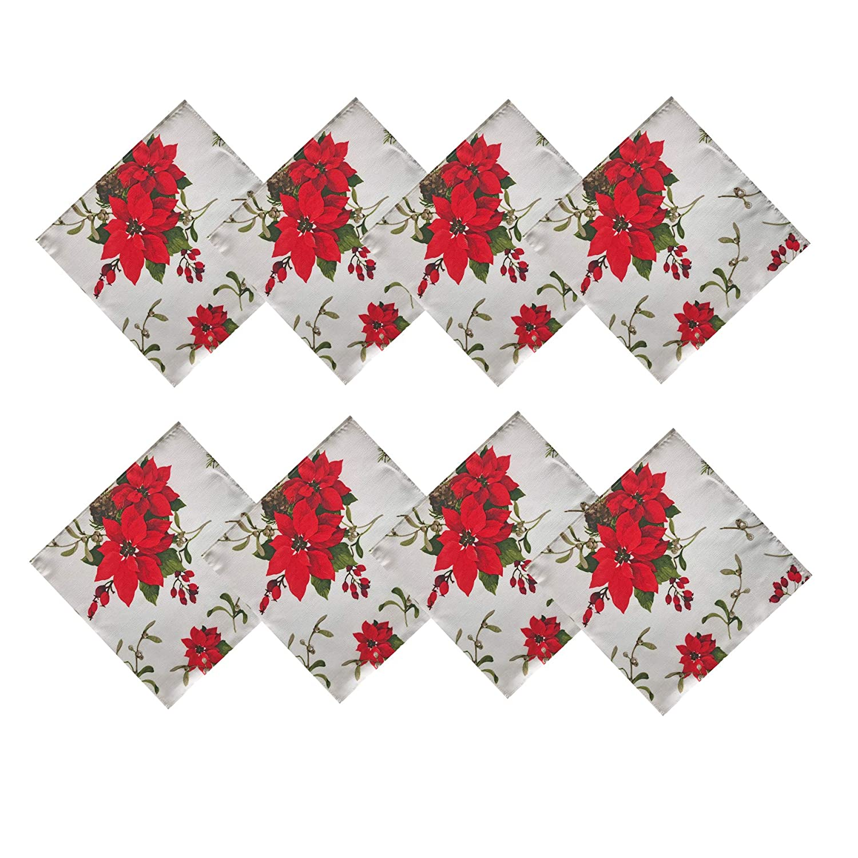 Newbridge Peaceful Poinsettia Allover Print Christmas Fabric Napkin Set, Holly Berry Xmas Print Cloth Napkins, Set of 8 Fabric Napkins, Ivory Napkin-Set of 8 Peaceful Poinettia - Ivory B07GBD6K1Z