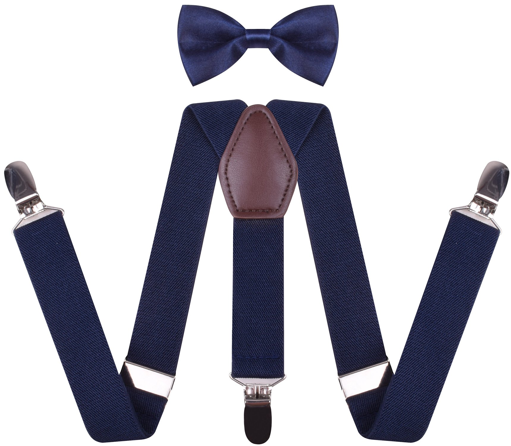 Mens Navy Blue Suspenders Adjustable Y Shape Pants Braces and Bow Tie Combo mens 50 Inches
