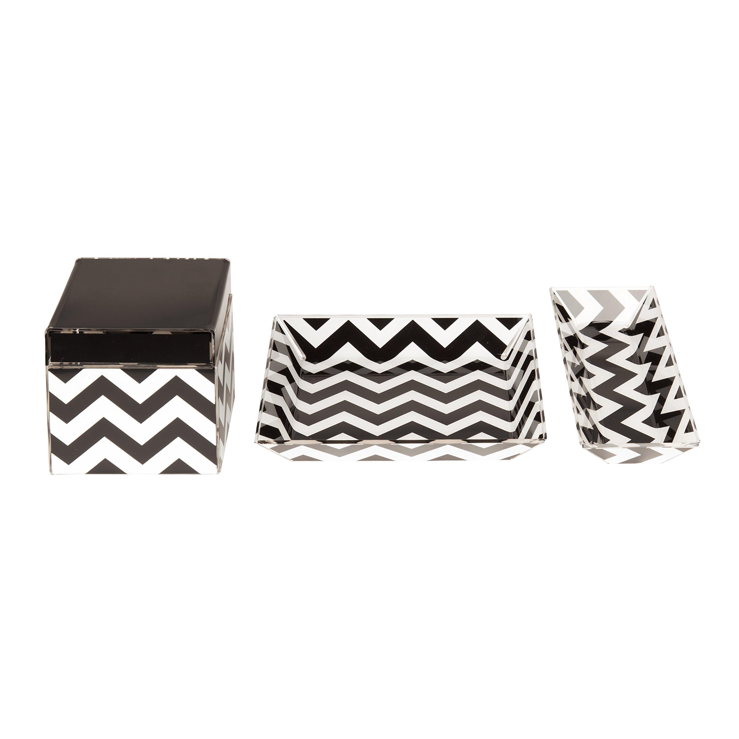 Kate and Laurel Luxe Chevron 3 Piece Acrylic Desk Organizer Set, Black and White