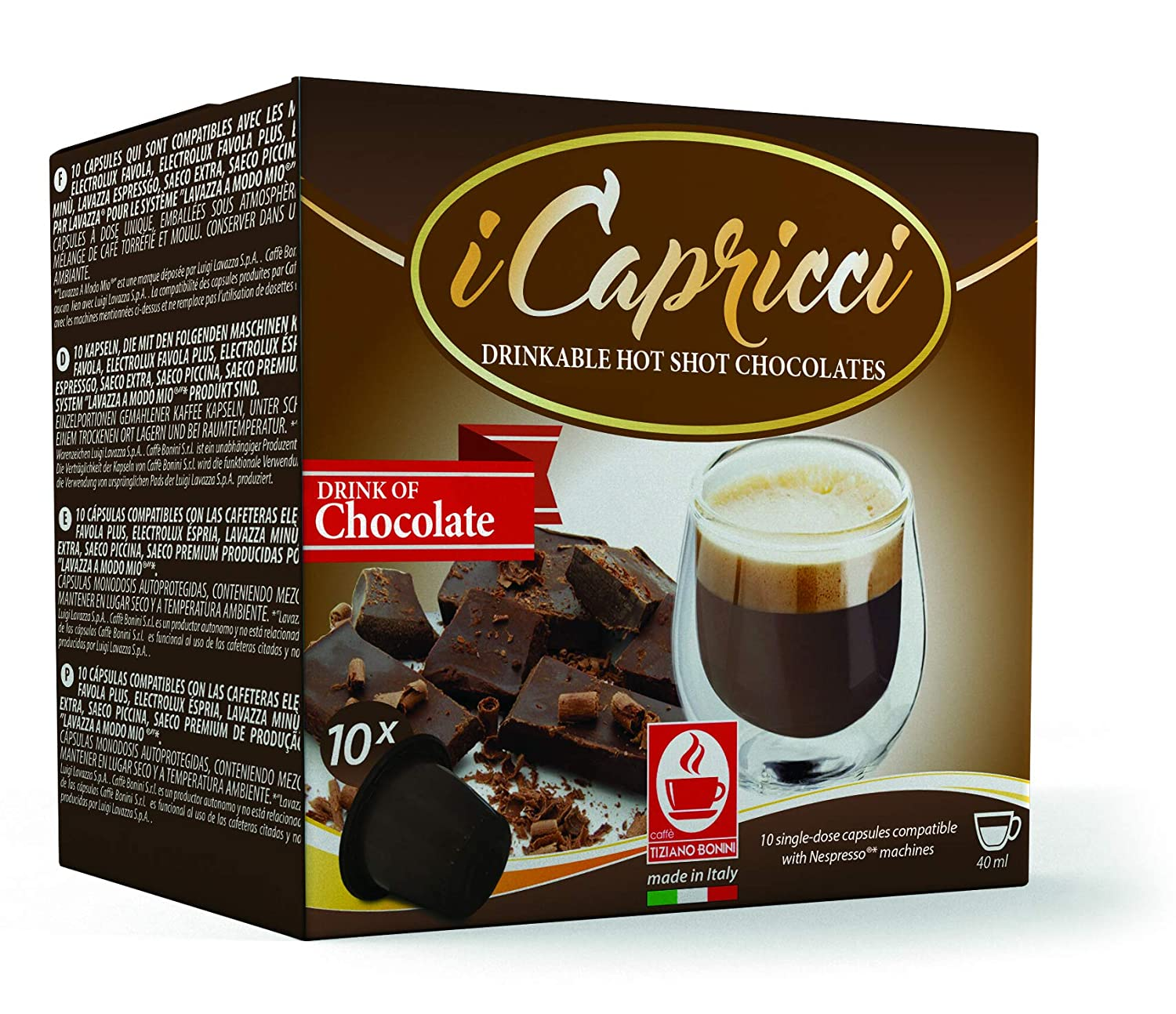 Gourmet Italian Hot Chocolate Capsules compatible with all Original Line Nespresso Machines, from...