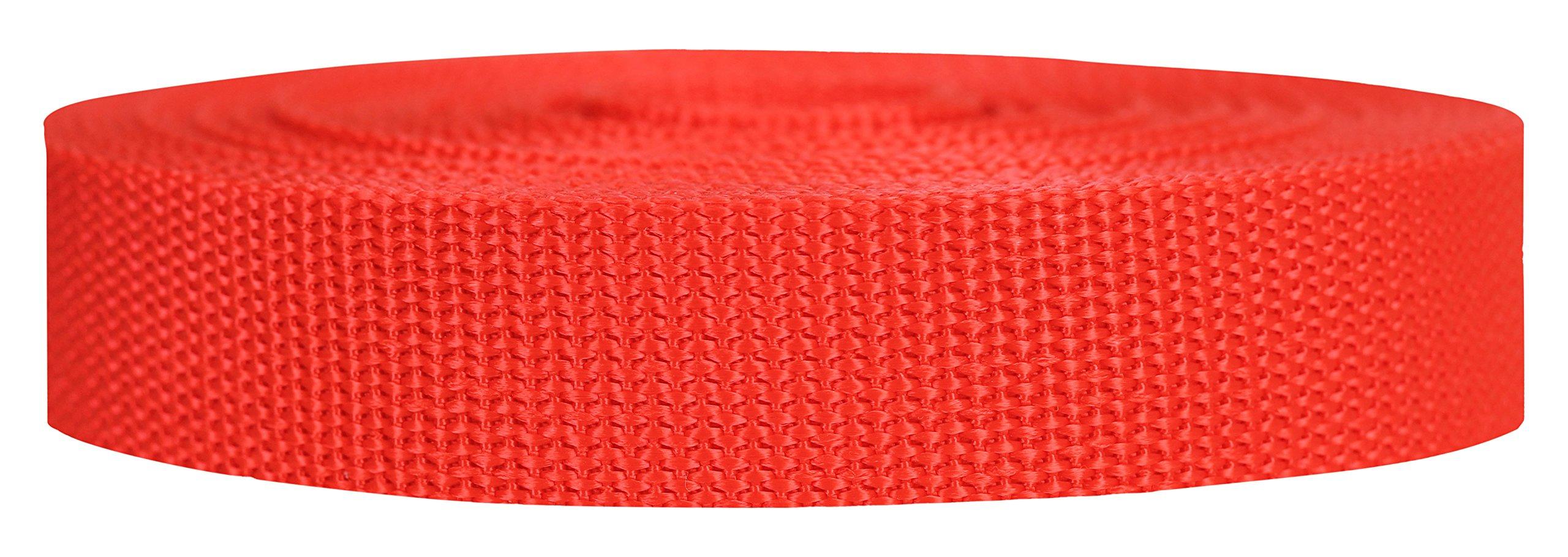 Strapworks Heavyweight Polypropylene Webbing - Heavy Duty Poly Strapping for Outdoor DIY Gear Repair, 1 Inch x 10 Yards - Blood Orange
