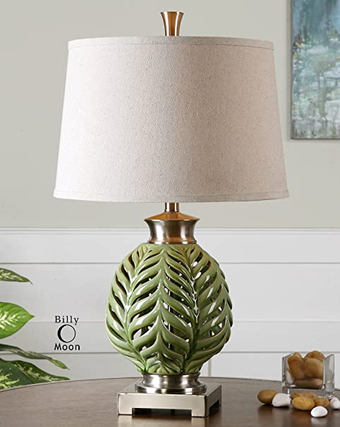 Uttermost flowing fern green table lamp with crackled lime green uttermost flowing fern green table lamp with crackled lime green glaze with brushed nickel details aloadofball Gallery