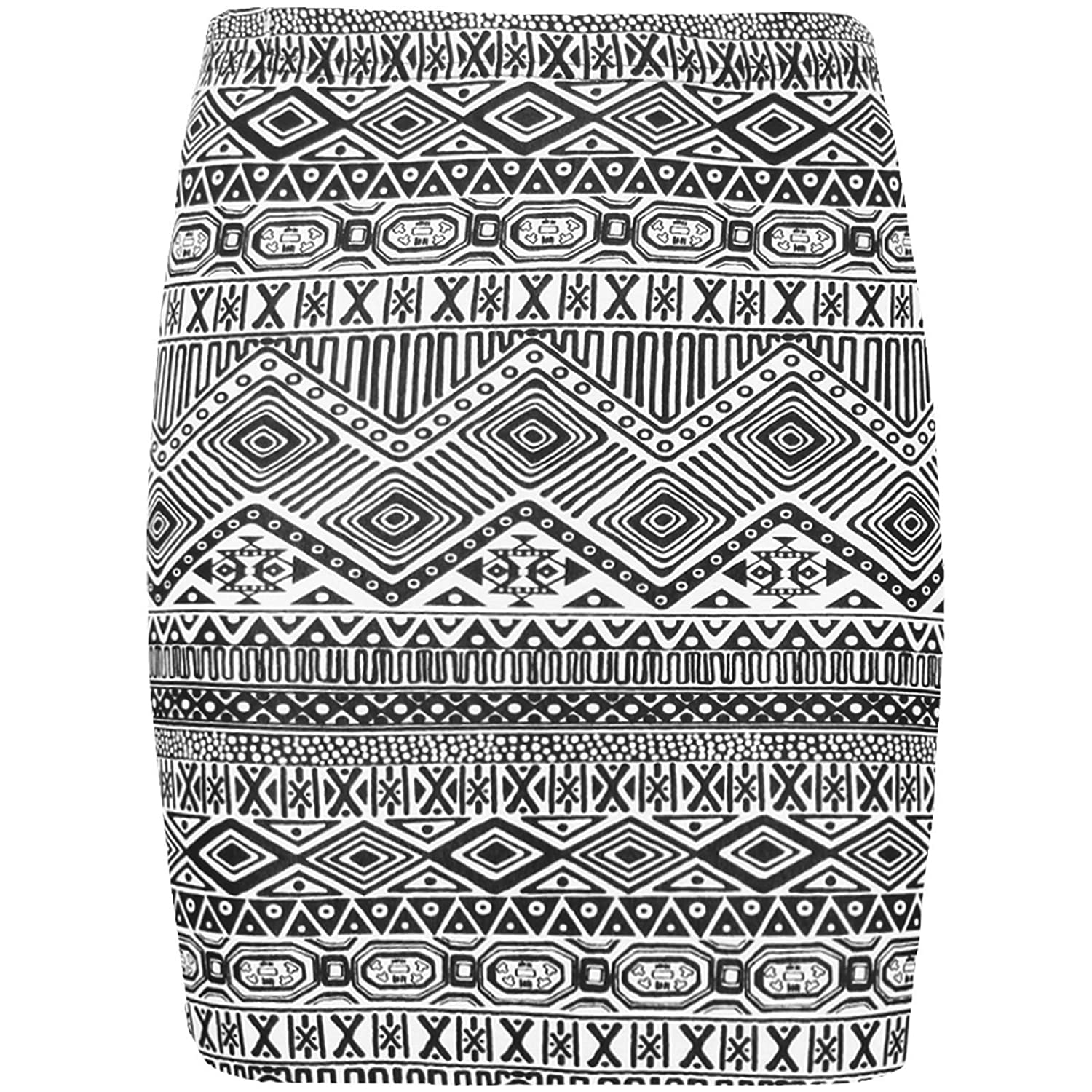 New Womens Printed Ladies Stretch Elasticated Jersey Bodycon Short Mini Skirt 8-22
