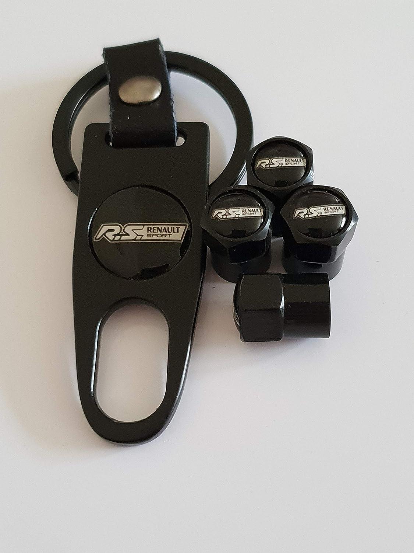 Speed Demons Bouchons de Protection de Valve Renault RS Sport Noir avec cl/é Keychain Porte-cl/é pour Tous Les mod/èles en Plastique antiadh/ésif
