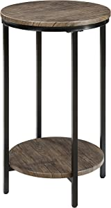 Abington Lane Antique Wood Finish Two-Tiered Round End Table - Side Table with Storage Shelf for Living Room (Distressed Pecan)