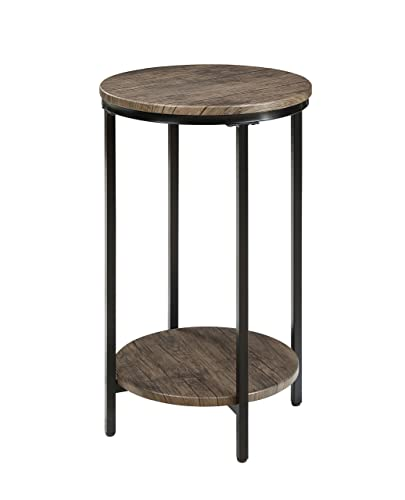 Abington Lane Antique Wood Finish Two-Tiered Round End Table – Side Table with Storage Shelf for Living Room Distressed Pecan