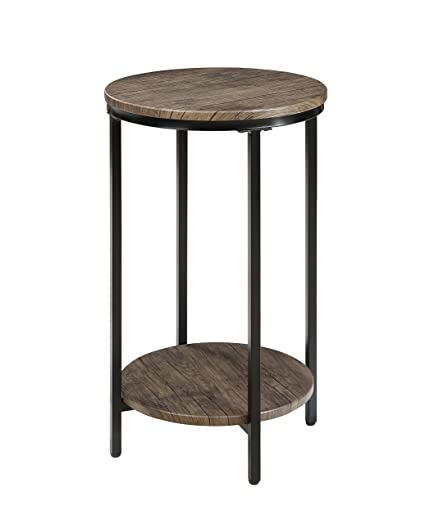 Abington Lane Antique Wood Finish Two-Tiered Round End Table - Side Table  with Storage - Abington Lane Antique Wood Finish Two-Tiered Round End Table - Side Table  With Storage Shelf For Living Room (Distressed Pecan)
