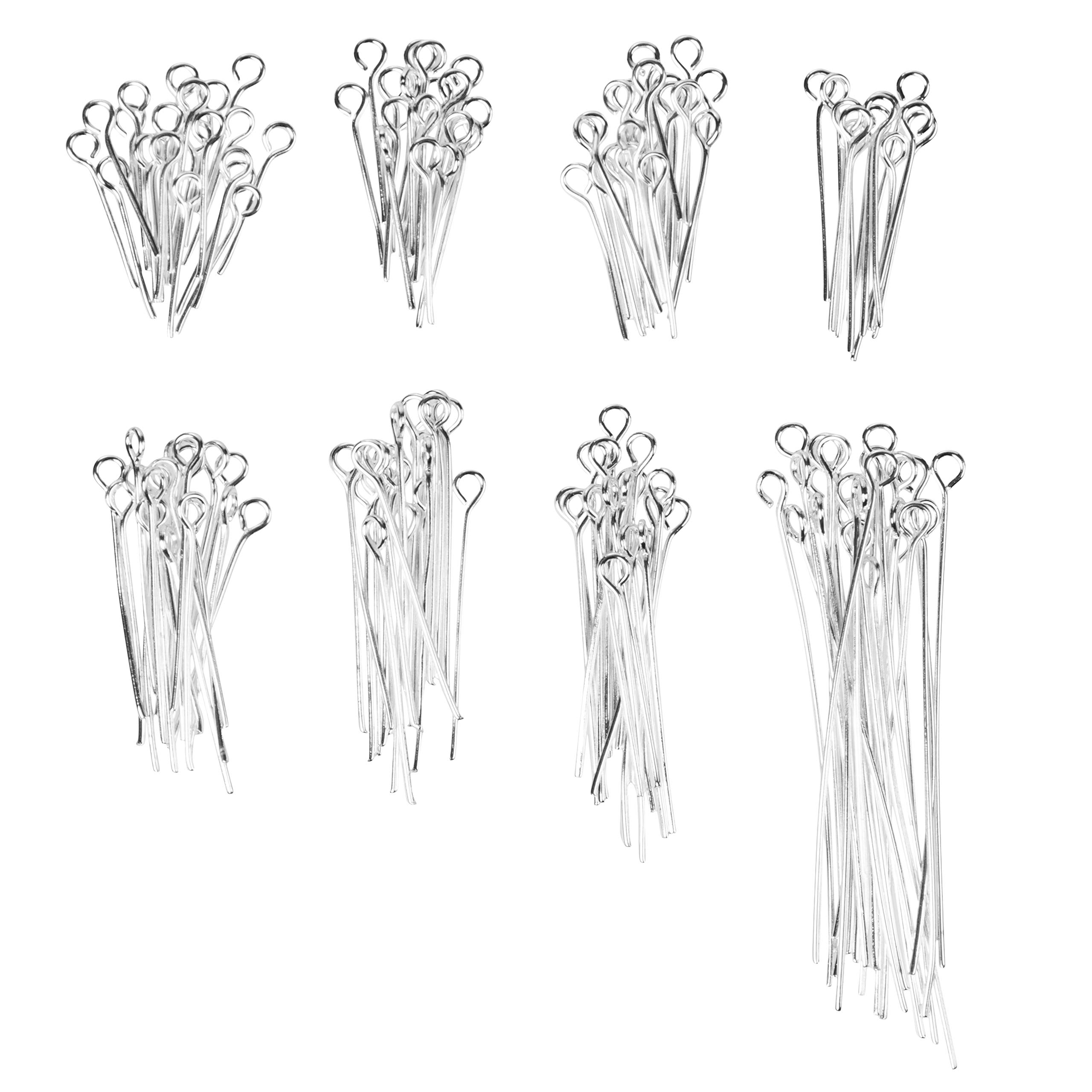 Eye Pins for Jewelry Making - 1200-Piece Jewelry Eye Pins, 20-Gauge Jewelry Findings Eye Pins DIY Jewelry Making Supplies, 8 Different Lengths, 150 of Each, 0.63-1.97 Inches, 0.09 Inch Hoop
