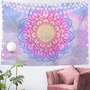 Blue and White Mandala Tapestry Wall Hanging Vsco for Girls Room, Living Room, Bedroom and Dorm 51x59 Inches