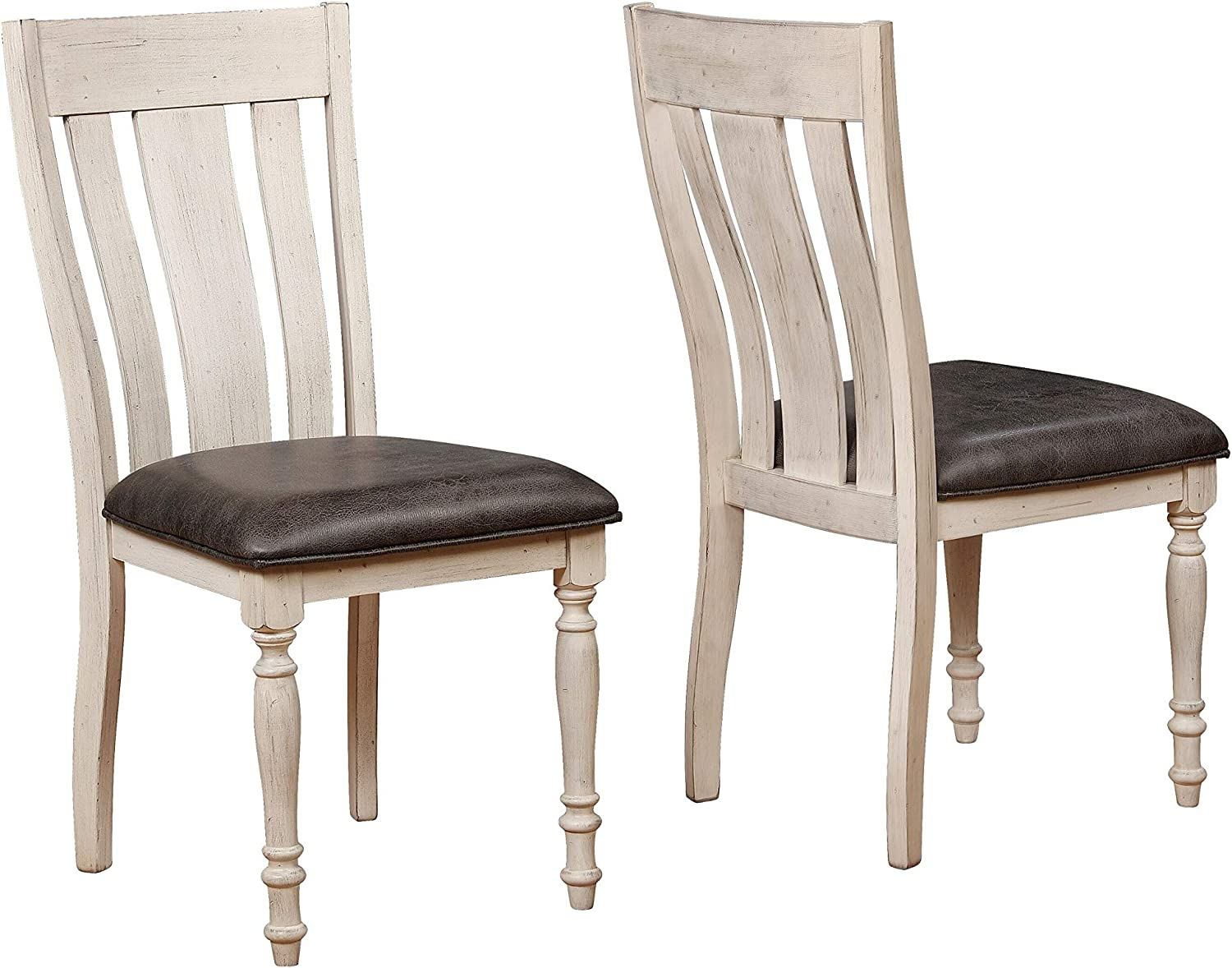 Roundhill Furniture Arch Turned Leg Dining Chair, Set of 2, Weathered Oak