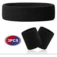 Hoter Thick Solid Color Sweatband Set(1 Headband + 2 Wristbands)