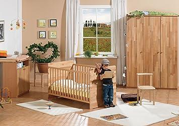 Herlag H1969 000 Kinderzimmer Leon Buche Teilmassiv Lackiert Kinderbett Inclusiv Umbauseiten Wickelkommode Kleiderschrank 3 Turig