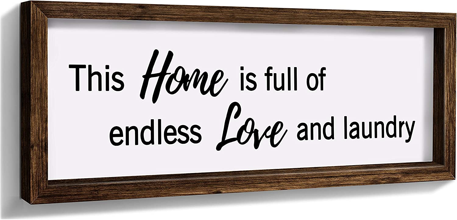 Laundry Decor Farmhouse Wall Decor Rustic Sign - This Home is Full of Endless Love and Laundry-15.6X5.8 Inches Bathroom Decoration Wall Art, Funny Housewarming Gifts for New Homeowner