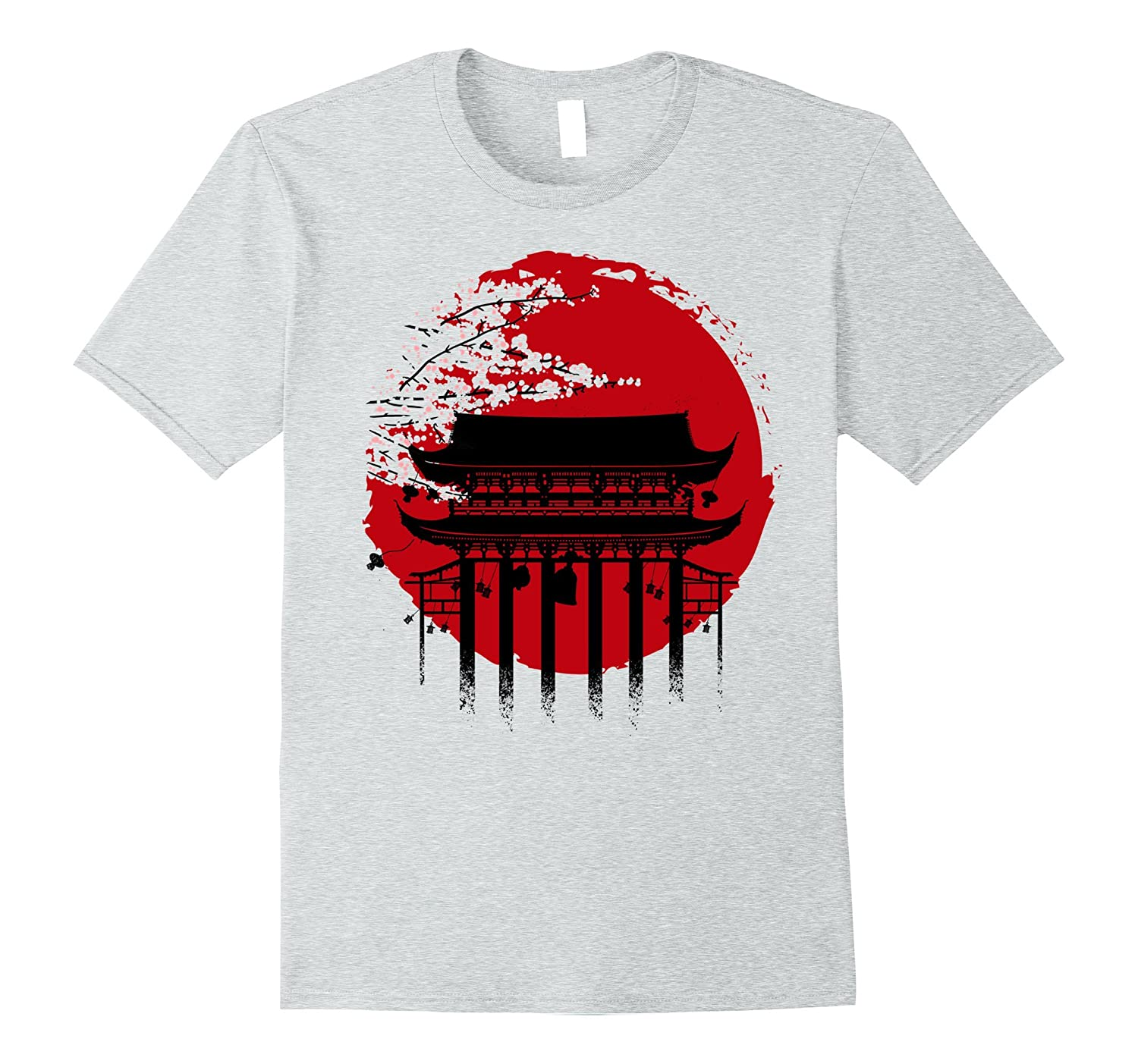 cherry tree temple in japan T-shirt graphic design tshirt ...