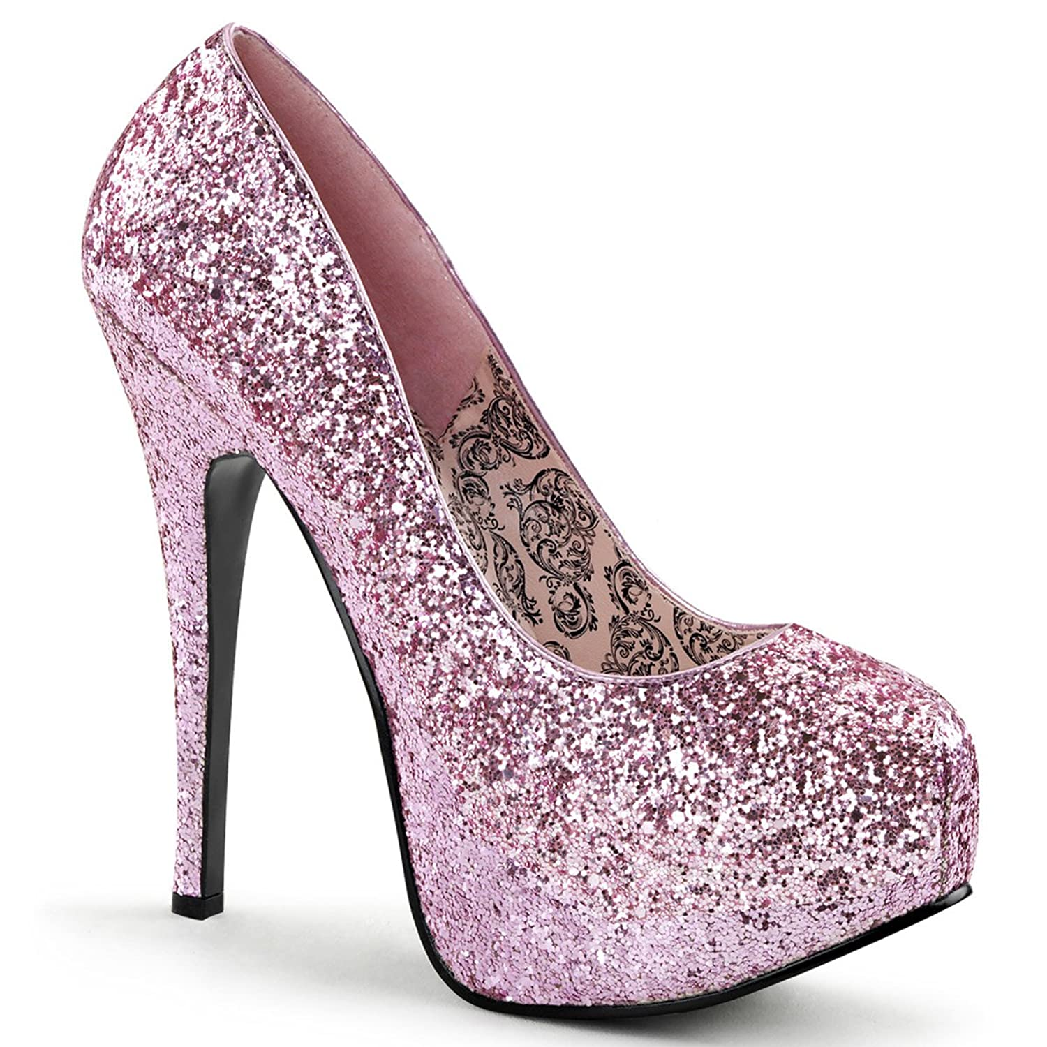 Amazon.com | Womens Pale Pink 5.75 Inch Glitter Heels with ...