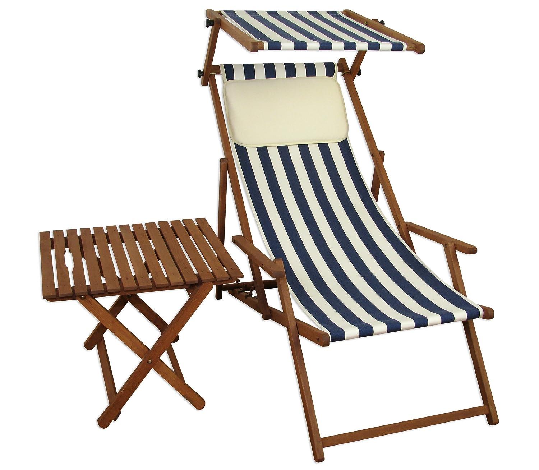 Sonnenliege Gartenliege Deckchair Saunaliege mit Dach + Tisch Beige